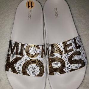 Michael Kors Crystal Sandal Bling Logo Flip Flop